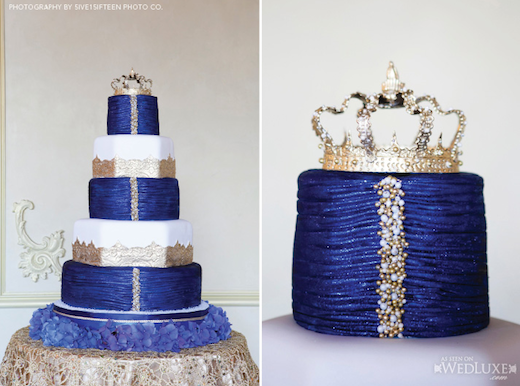 Royal Wedding Cake Gold and Sapphire Blue