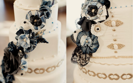 Royal Wedding Cake blue navy gold white