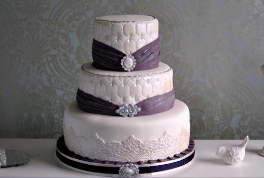 Royal Wedding Cake purple sash beads jewels