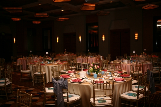 Gold, pink and lilac MS Gala tables