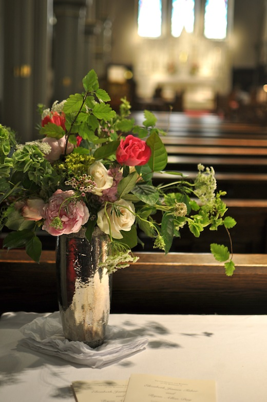pink, green and white tall centerpiece