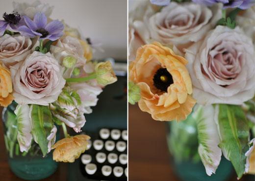 pastel ranunculus, anenomes and amnesia roses
