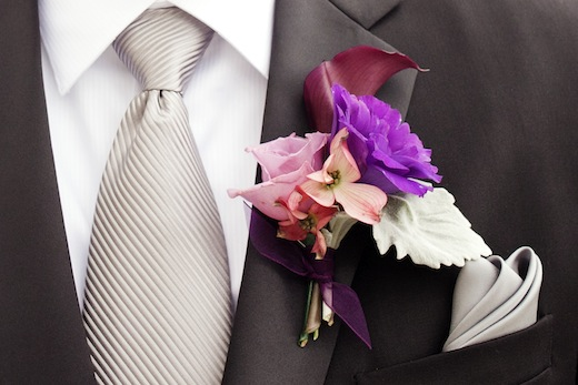boutonniere with calla, dogwood and lisianthus