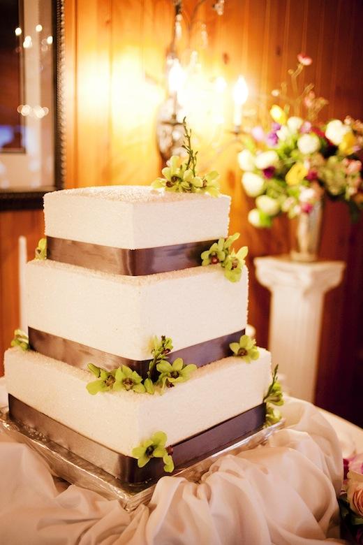 green orchids wedding cake Edgewater Seattle