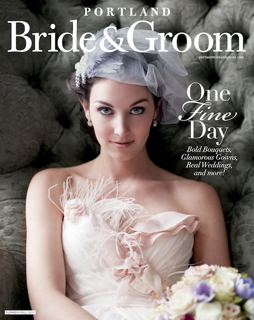 Finch & Thistle bridal bouquet on cover of Portland Bride & Groom magazine