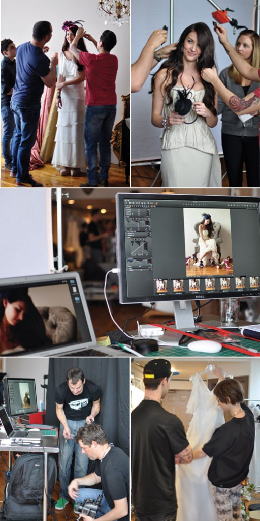 hair and makeup stylists, photographers and fashion editors at Seattle Met Bride & Groom shoot