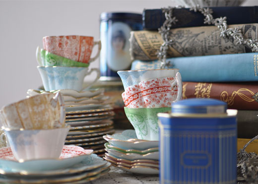 books, teacups and biscuit tins