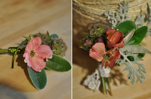dogwood and scabiosa corsage with lace