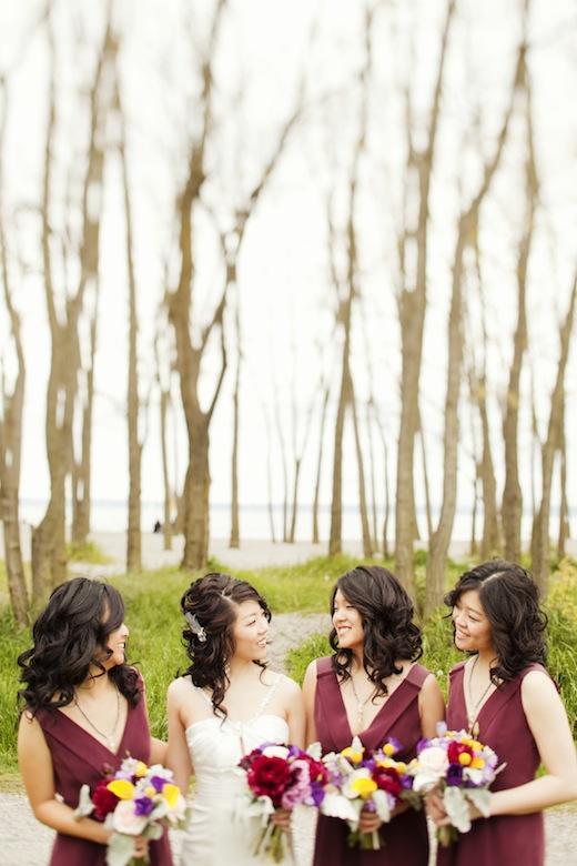 bride and bridesmaids at Golden Gardens