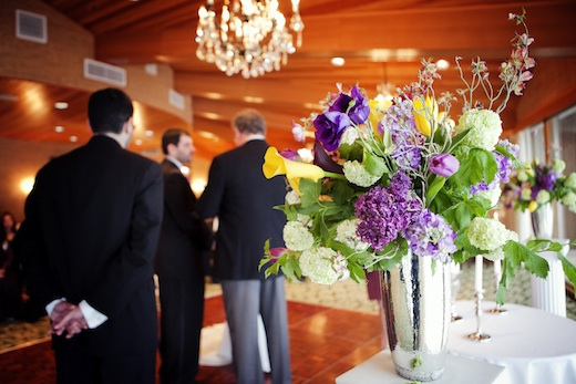 purple and yellow tall centerpiece