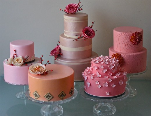 pink and rose gold wedding cakes