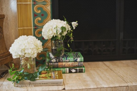 book fireplace display