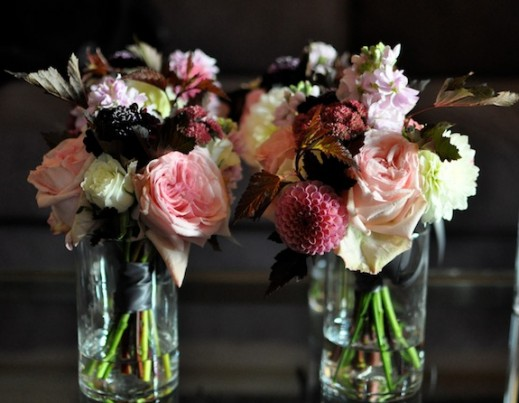 brown, red and pink bridesmaid bouquets