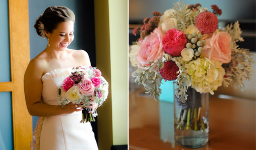 pink and grey bridal bouquet
