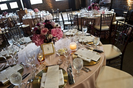 pink and plum wedding centerpieces