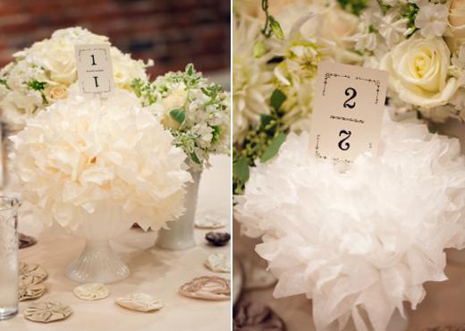white tissue flowers
