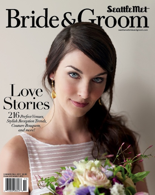 bouquet on cover of Seattle Met Bride and Groom