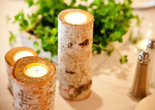 birch votive and succulent centerpieces