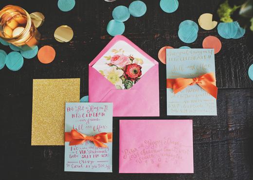 pink, turquoise and gold invitation design sponge
