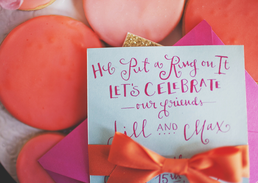 pink calligraphy invitation design sponge