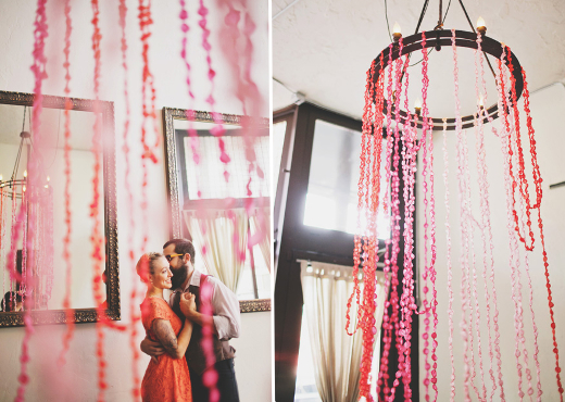 twisted crepe paper garland chandelier design sponge