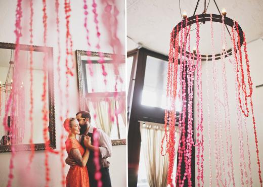 twisted crepe paper garland chandelier design sponge