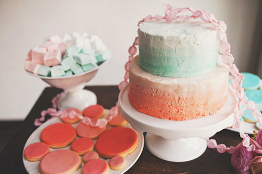 ombre coral and turquoise wedding cake design sponge