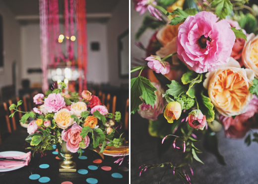 pink orange and yellow floral centerpiece design sponge polka dot confetti