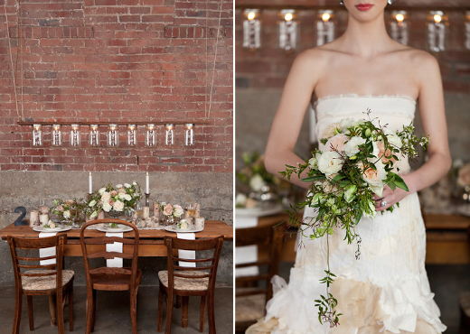 pink, green and white draping teardrop bouquet