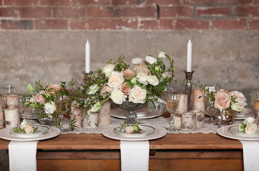pink and green birch and silver tabletop