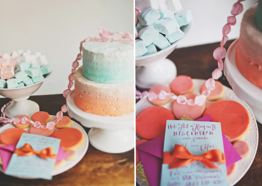 coral and turquoise wedding dessert table design sponge