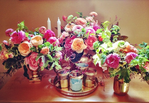spring centerpieces pink yellow peach red