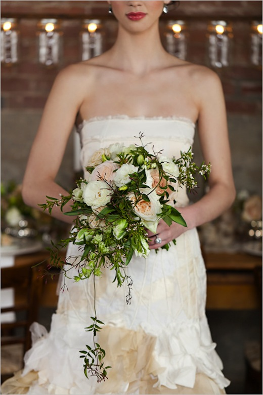 rustic, soft, pastel, romantic wedding bouquet by finch and thistle