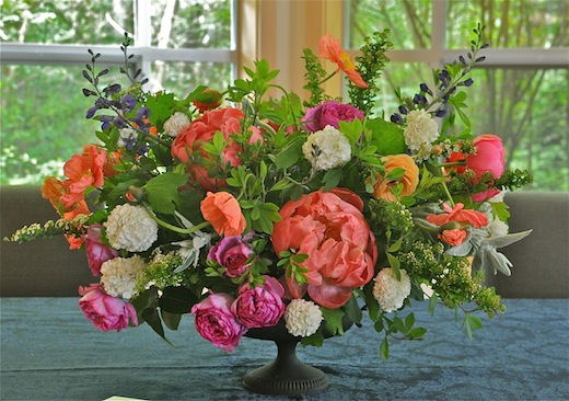coral peonies and pink garden roses