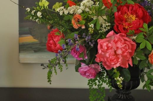 peonies ranunculus garden rose centerpiece