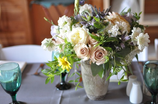 rustic centerpiece in sage, lavender and yellow