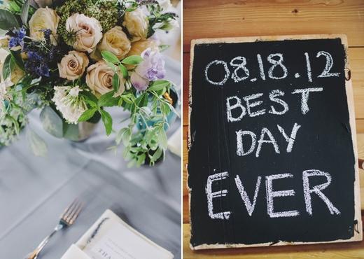 wedding sign, finch and thistle centerpiece, best seattle wedding flowers