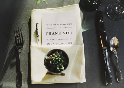 thank you menu card, succulent wedding favor finch and thistle