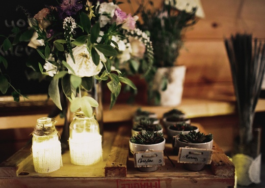 succulent pots and tiny lanterns DIY wedding decor