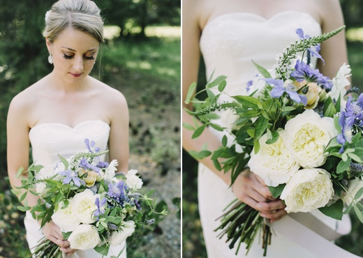 lavender, sage, white bridal bouquet finch and thistle