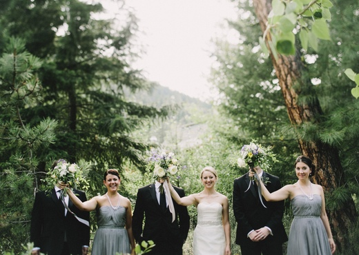fun bridal party picture, surrealist wedding party photo