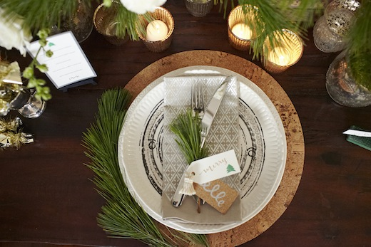 cork placemat and west elm metallic print napkins