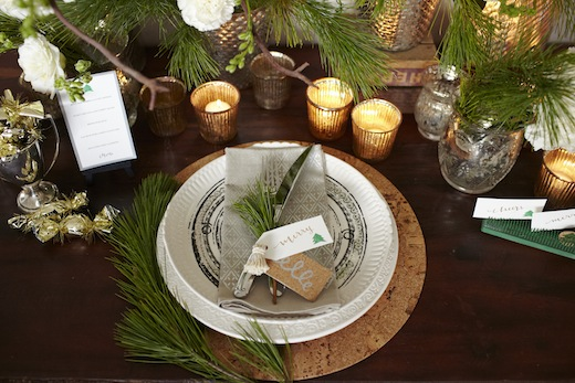 holiday tabletop decor natural green and silver