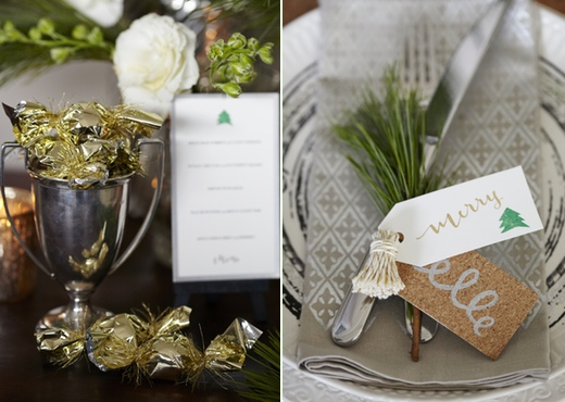 metallic napkin and menu card