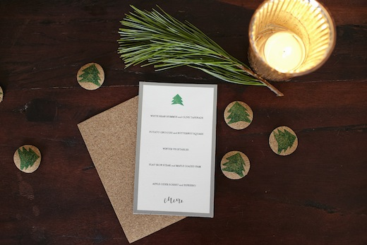wedding menu card finch and thistle event design seattle