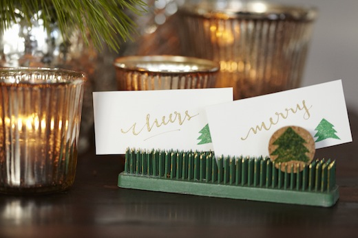 flower frog place card holder finch and thistle event design rachel bowes