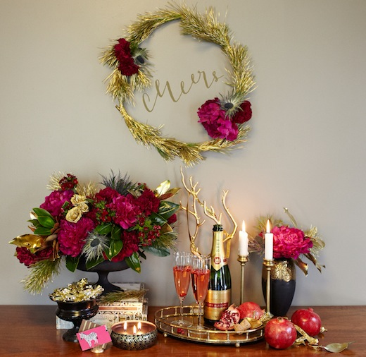 finch.thistle.pink.gold.glam.holiday.tabletop.wedding chicks design sponge