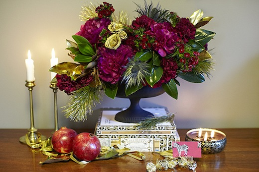 finch.thistle.pink.gold.glam.holiday.centerpiece.black vase.design sponge
