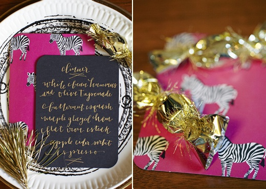 gold calligraphy pink zebra paper gold favors