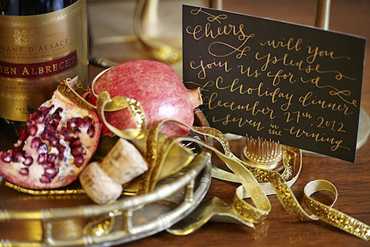 holiday tabletop decor centerpiece gold invitation wedding